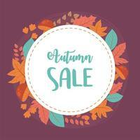venda de outono, texto de desconto com folhas de bordo para a temporada vetor