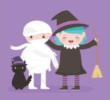 feliz dia das bruxas, fantasia de múmia e fantasia de gato doçura ou travessura, celebração de festa vetor