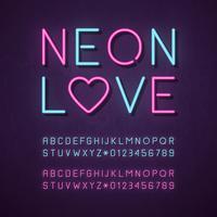 Alfabeto de néon azul e rosa brilhante vetor