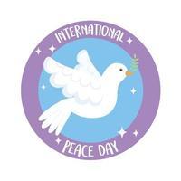 dia internacional da paz pomba com ramo de oliveira vetor