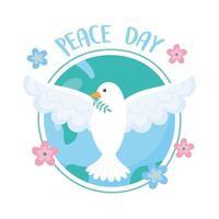 Pombo do dia internacional da paz com ramo em desenho de flores do mundo de bico vetor