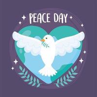 dia internacional da paz pomba com ramo mundial em forma de coração vetor
