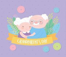 feliz dia dos avós, vovó e vovô abraçaram cartão de fita de flores de desenho animado de personagem vetor