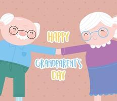 feliz dia dos avós, vovô engraçado e vovó de mãos dadas cartão de desenho animado vetor