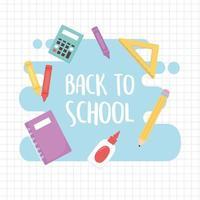 de volta às aulas, notebook cola régua calculadora fornece educação desenho animado grade fundo vetor