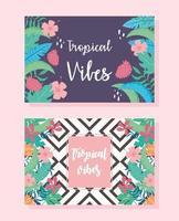 folhas tropicais, banner floral botânico exótico ou modelo de capa vetor