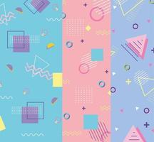 memphis forma um triângulo e quadrados anos 80 anos 90 banners abstratos vetor