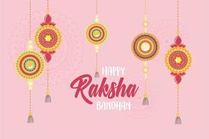 raksha bandhan, pulseiras penduradas de amor irmãos e irmãs festa indiana vetor