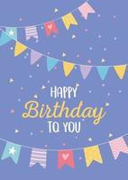 feliz aniversário, bandeirolas confetes festa de comemoração da decoração de aniversário vetor