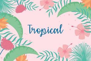 folhas tropicais flores exóticas hibisco letras em folha de palmeira vetor
