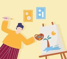 atividades de pessoas, mulher artista desenhando em uma tela segurando uma paleta de cores vetor