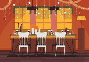 Linda mesa de Natal decorada em casa para o jantar vetor