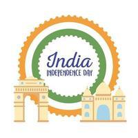 feliz dia da independência da índia, marco da índia e taj mahal, portão da índia vetor