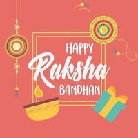 raksha bandhan, pulseiras, caixa de presente e velas, irmãos e irmãs, celebração indiana vetor
