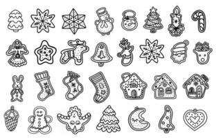 conjunto de pão de mel de Natal. biscoito de natal. mão desenhada ilustração vetorial no estilo doodle vetor