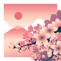Flor de cerejeira com montanha Fuji no fundo vetor