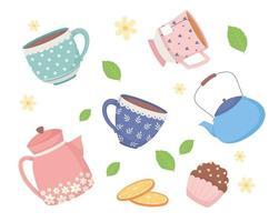 hora do café e chá, xícaras de bule de porcelana em fatias de laranjas e folhas de hortelã vetor