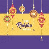 raksha bandhan, banner tradicional de coleção de pulseiras indianas vetor