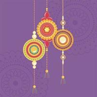 raksha bandhan, tradicional símbolo de pulseira indiana de amor entre irmãos e irmãs vetor