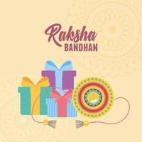 raksha bandhan, pulseira tradicional com surpresas de presente de amor irmãos e irmãs evento indiano vetor