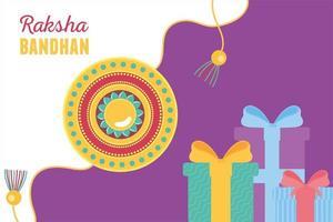 raksha bandhan, pulseira tradicional irmãos e irmãs caixas de presente de celebração indiana vetor