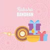 raksha bandhan, pulseira de vela e caixas de presente com mandalas do amor irmãos e irmãs evento indiano vetor