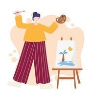 atividades de pessoas, artista feminina desenhando uma cena tropical em uma tela segurando uma paleta de cores vetor