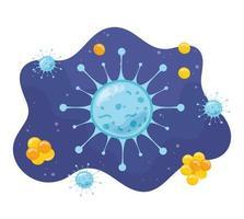 bactérias de células microscópicas de coronavírus e microrganismos de vírus, infecção por doença vetor