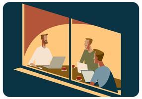 Reunião de loja de café com vetor de amigos