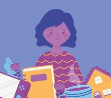 menina com livro de jogos de console e uma xícara de café com atividades caseiras vetor