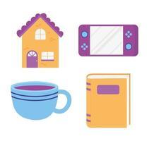jogo de console doméstico xícara de café e ícones de livro design isolado vetor