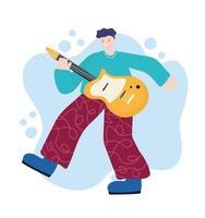 atividades de pessoas, jovem com instrumento musical de violão na sala vetor