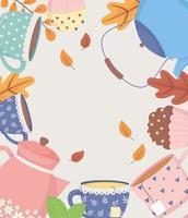 hora do café e chá, chaleiras e xícaras de pôster de decoração de bolinho doce e folhas vetor