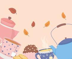 hora do café e chá, bule cupcake cupcake e decoração de folhas vetor