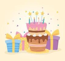 feliz aniversário, estrelas de velas de bolo e caixas de presente surpresa celebração vetor