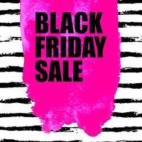 ilustração em vetor de banner preto de venda sexta-feira com mancha rosa aquarela sobre fundo de pincelada aquarela. modelo de design de inscrição.
