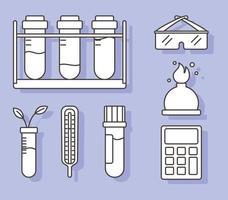 Química ciência tubos de ensaio termômetro queimador e óculos, estilo de linha vetor