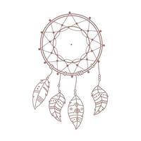 pena do apanhador de sonhos boho nativo e estilo tribal desenhado à mão vetor