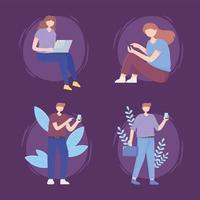 pessoas configuradas com tecnologia de gadgets digitais e internet 5g geração vetor
