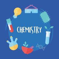 química ciência tubo de ensaio argamassa bactérias planta e óculos, estilo simples vetor