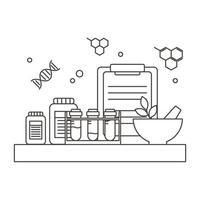 Química equipamento de laboratório argamassa tubos de ensaio medicina ciência, estilo de linha vetor