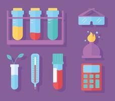 Química ciência tubos de ensaio termômetro queimador e óculos, estilo plano vetor