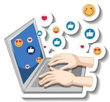 um modelo de adesivo com as mãos no laptop com ícone de emoji social vetor