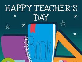feliz dia dos professores, cartaz, folheto, banner e cartão comemorativo vetor
