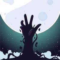mão de zumbi e lua cheia para o fundo do dia das bruxas vetor