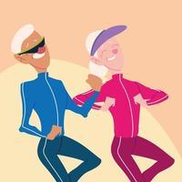 casal de idosos correndo, idosos ativos vetor