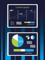 Aumente o design de infográficos de gráficos de linha e pizza vetor