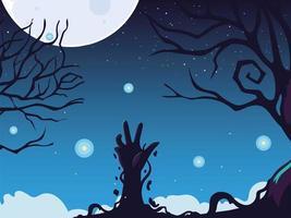 fundo de halloween com mão de zumbi e lua cheia vetor
