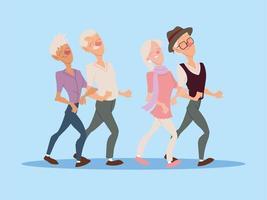 grupo de idosos caminham juntos, idosos ativos vetor