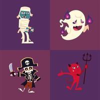 conjunto de ícones de halloween com múmia, fantasma, esqueleto e demônio vetor